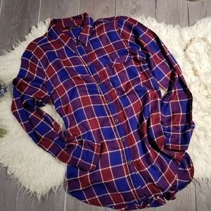 Lucky Brand Sz S Flannel Look Button Up Top